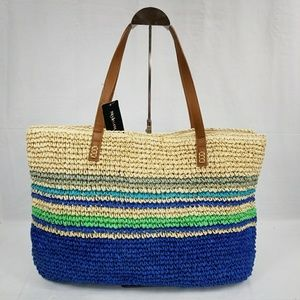 NWT Style & Co Blue Stripes Straw Tote